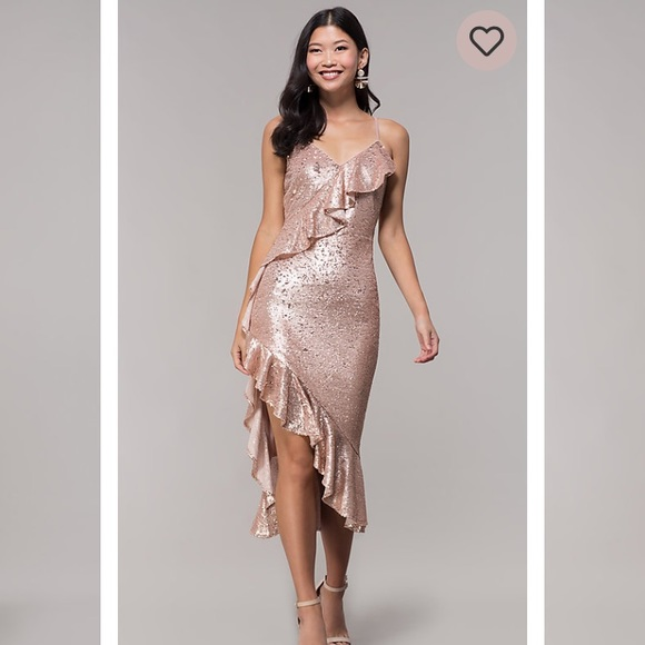 Simplydress Dresses & Skirts - Simplydress rose gold sequins with ruffles